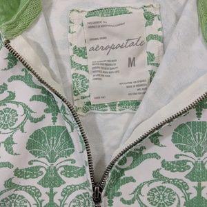Aeropostale Tops - Aeropostale Green & White Print Hoodie